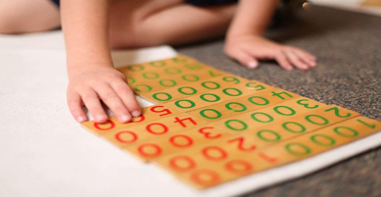Decimal work 1 in a Montessori classroom