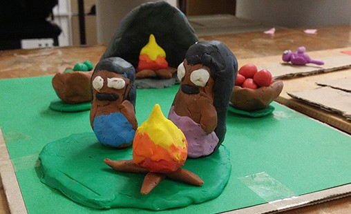 Photo of a student's model of early humans and fire.