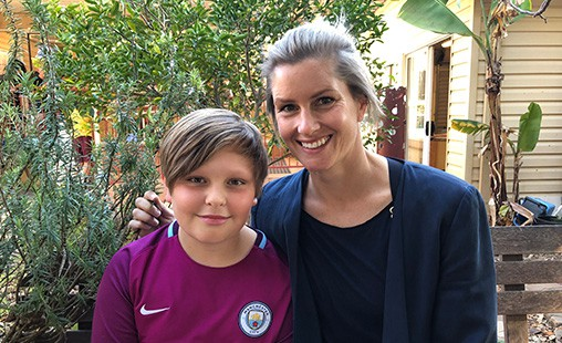 Photo of FMS parent Elke Baltovski with her son Finn