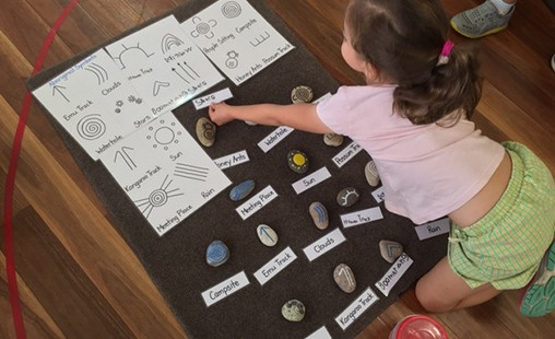 Photo of a student looking at aboriginal symbols, demonstrating the 'Absorbent Mind'.